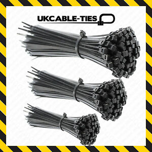 Quality Black Cable Ties Zip Wraps Long Short Thick Thin Narrow Small Fastener