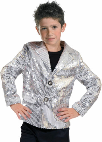 Morris Costumes Boys Disco 1970s Dance Theme Party Jacket Silver 4-6 FF782717