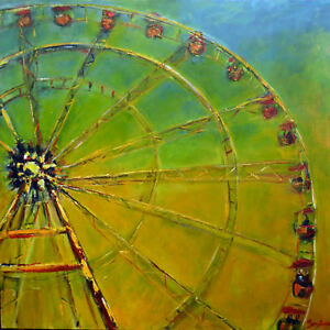 Ferris Wheel Yellow Painting ORIGINAL Abstract Art Circus 36x36 by BenWill