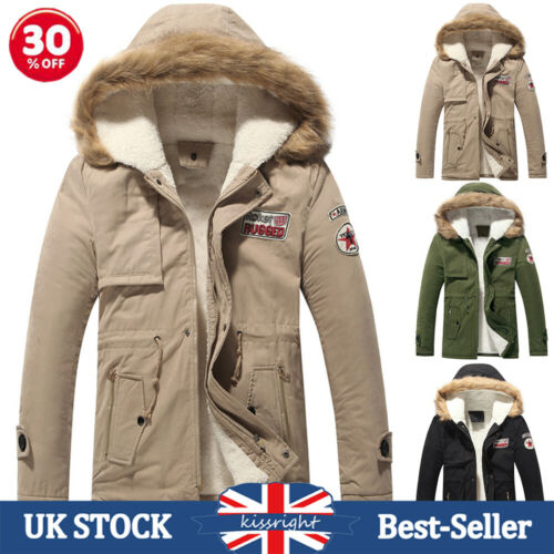 Mens Winter Fur Lined Hooded Coats Cotton Padded Warm Thick Parka Quilted Jacket