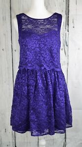 Morgan-amp-Co-Sparkle-Lace-Fit-amp-Flare-Dress-A-Line-Sleeveless-Purple-Size-5-6