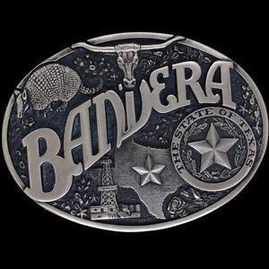 Brass Bandera Texas Rodeo Oil Derrick Rig Oilfield Brass 80 Vintage Belt Buckle