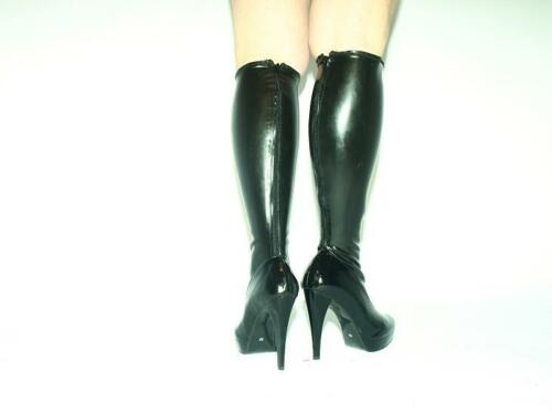 """PROMOTION ! HEELS 5,5/"""" POLAND BLACK-RED LATEX RUBBER FETISH BOOTS SIZE 4-12"""