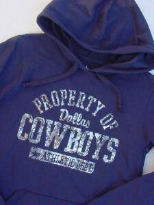 best website 061d4 7e160 Details about NWT Dallas Cowboys Pullover Hoodie Sweatshirt Navy Blue  Metallic Womens Sz M L