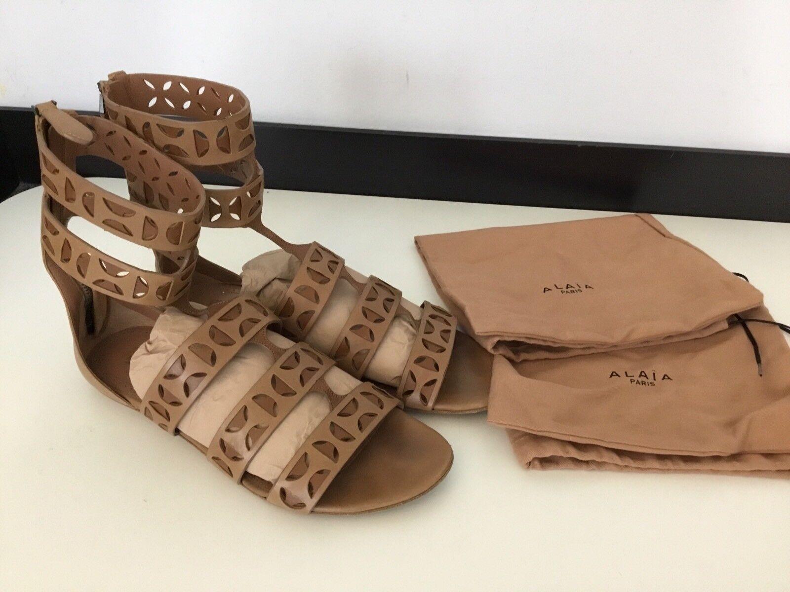 ALAIA Tan in Pelle Scarpe Sandali Gladiatore in buonissima condizione Taglia 38 Sacchetti