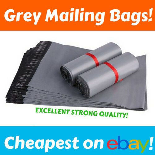 GREY MAILING BAGS 9  x 12  Poly Strong Cheap Plastic Mail Bag Post Self Seal UK