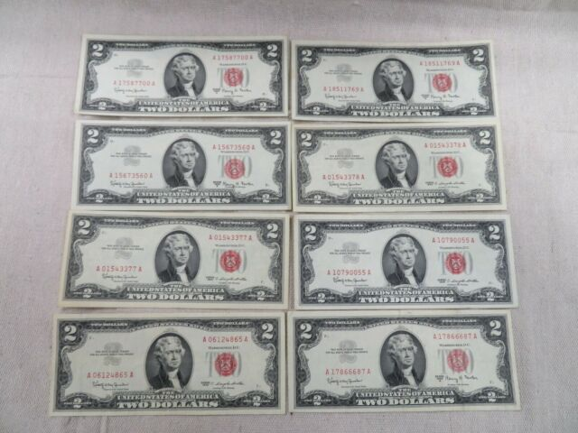 Higher Grade! One $2 1963 Two Dollar Red Seal Circulated Legal Tender Currency