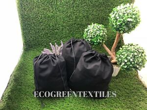 081838fc46b2 Details about 10x12 inch BLACK Double Drawstring Muslin Bags QTY- 10, 25,  50, 100 *PREMIUM*