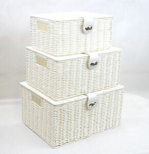 Storage-Basket-White-Resin-Woven-Hamper-Box-With-Lid-amp-Lock-In-3-Size