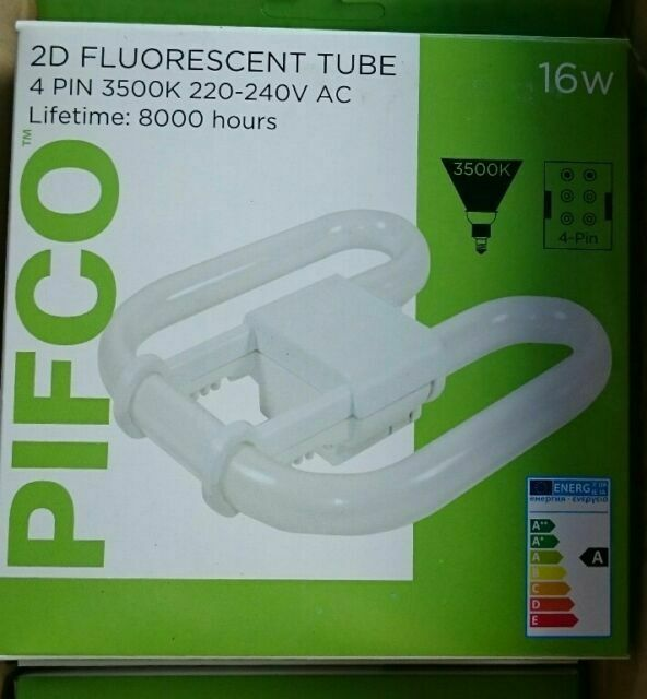 PIFCO 2D Fluorescent Tube Bulb 3500K 220-240V AC 4 Pin 28W