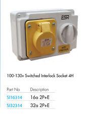 32 Amp 3 Pin Interlock Presa Con Interruttore 100V 130V 2P + T Impermeabile IP44