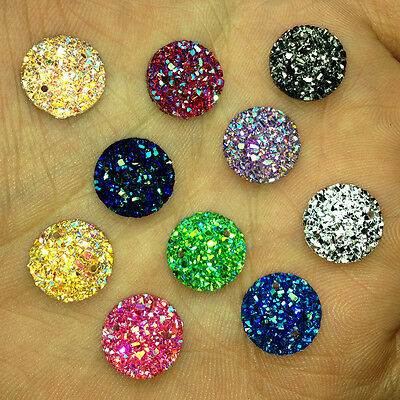 NEW 35PCS 12MM Resin Round flatback Scrapbooking crafts holes Buttons AB colour