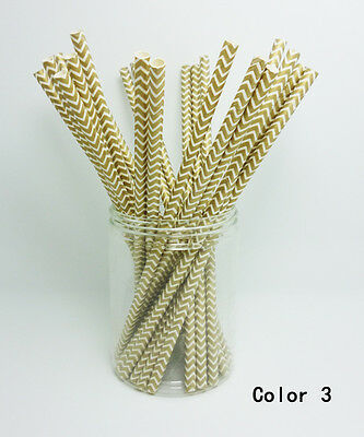 25 PCS Colorful Chevron Striped Paper Drinking Straws For Wedding Birthday Party