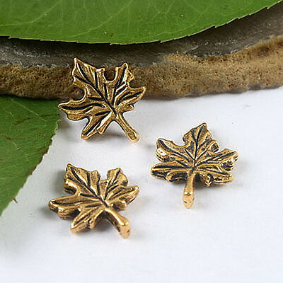 100pcs dark gold-tone maple leaf charms findings h1998