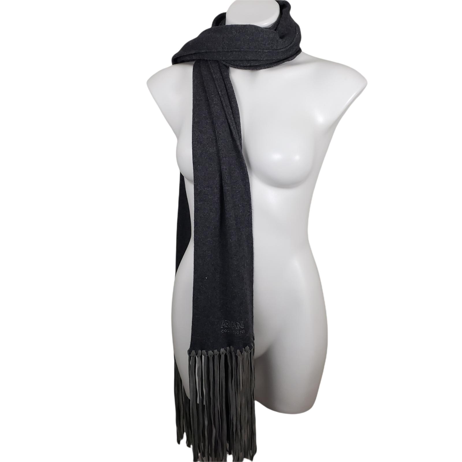 armani collezioni Womens Long Scarf Long Fringe gray rhinestone winter warm