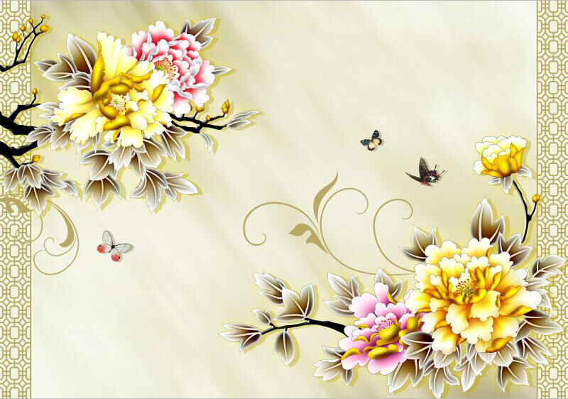 3D Flowers And Butterflies 4 Paper Wall Print Wall Decal Wall Deco Indoor Murals