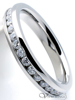 Stainless Steel Clear CZ Eternity Ring Women's 3.5mm Size 4 to 10.5
