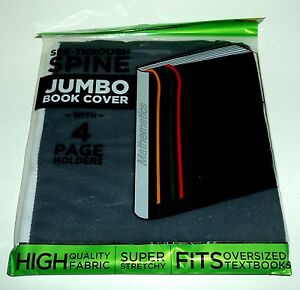 IT-039-S-ACADEMIC-See-Through-Spine-JUMBO-Book-Cover-With-4-Page-Holders-BLACK-NIP