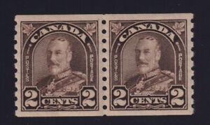 Canada-Sc-182-1931-2c-dark-brown-KGV-Arch-Coil-Pair-Mint-VF-NH