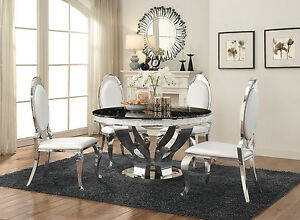 Ordinaire Image Is Loading CONTEMPORARY FAUX MARBLE Amp CHROME ROUND DINING TABLE