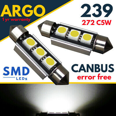 2x Saab 9-3 YS3D Bright Xenon White 3SMD LED Canbus Number Plate Light Bulbs