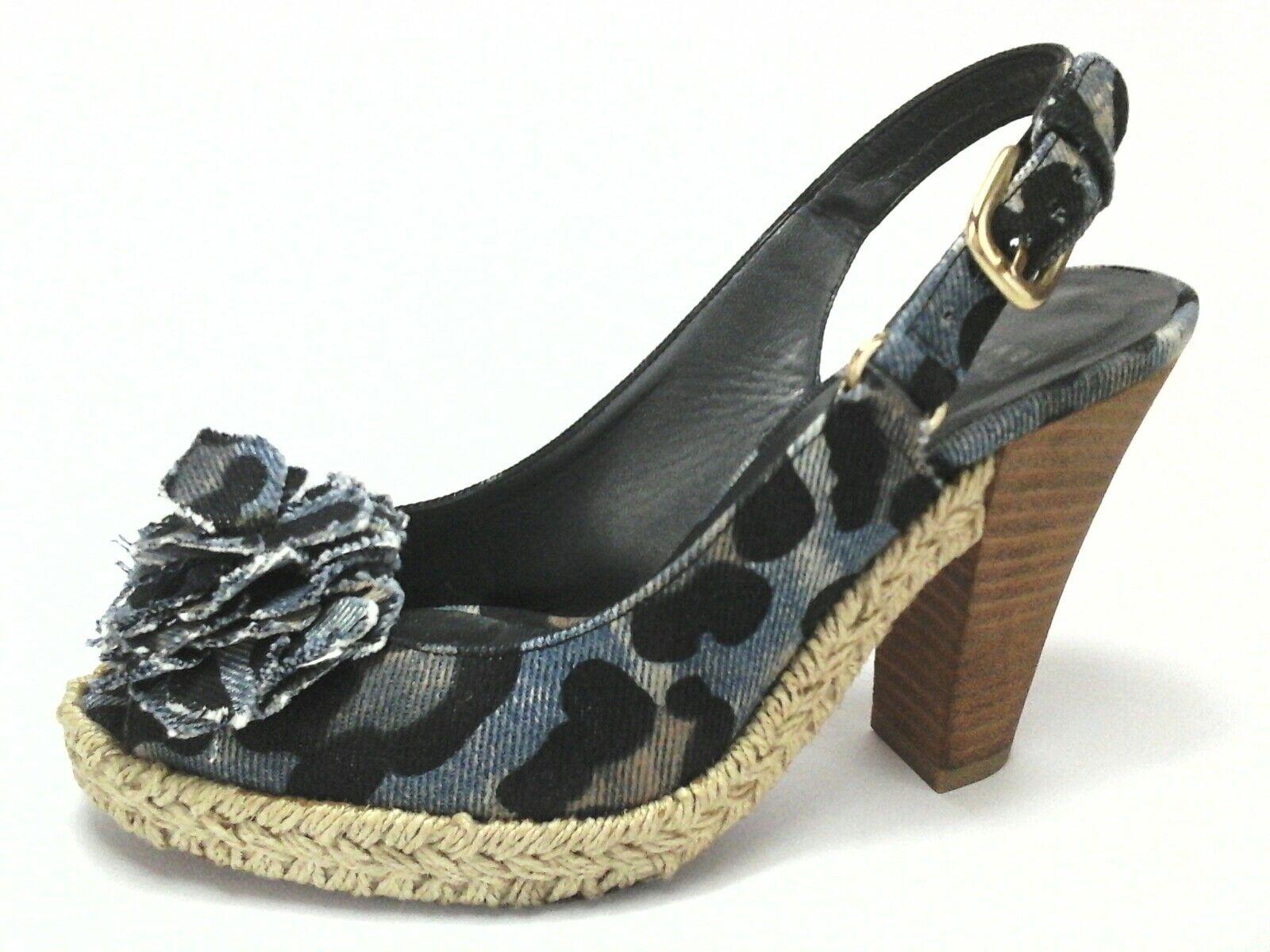 STUART WEITZMAN Sandals Heels ESPADRILLES Denim Leopard Floral US 6 EU 36.5  425