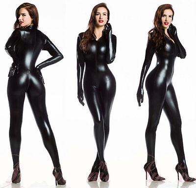 Sexy Women Vinyl PVC Wetlook Leather CATSUIT CLUBWEAR Bodysuit Motor Jumpsuit