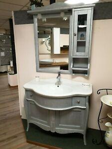 Consolle In Ceramica Per Bagno.Dettagli Su Mobile Da Bagno In Stile Shabby 110 Cm Grigio Argento Consolle In Ceramica