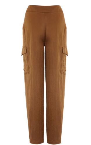 Soft drappeggiati 6 Pantaloni Brown Karen Pocket Uk Millen Pn100 Cargo Safari leggeri 34 CqOw5U