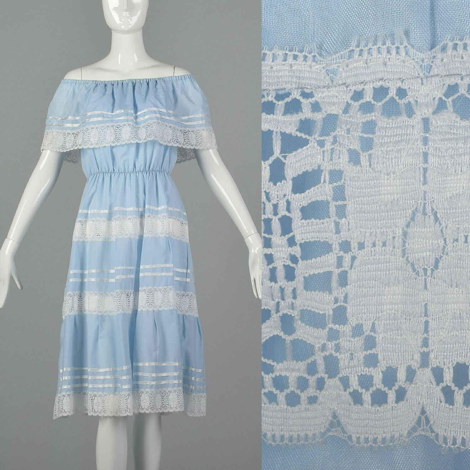XS 1970s Boho Prairie Dress Vintage Bohemian Off Shoulder 70s Blau Summer Sheer