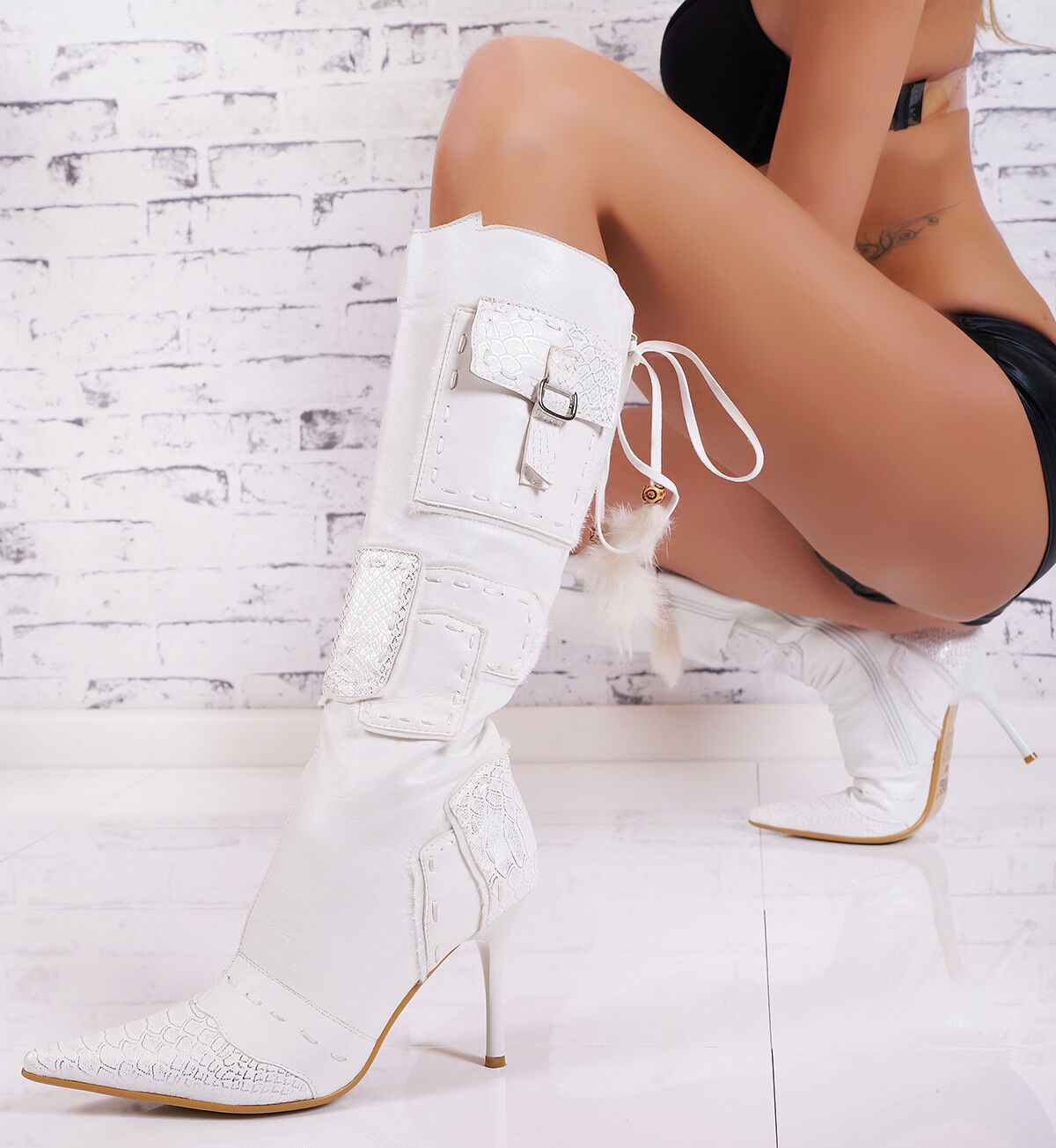 Sexy Luxury Boots High Heels Ankle Boots shoes Court shoes Crocodile White 36-41