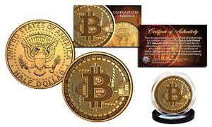 BITCOIN-Physical-Commemorative-Crypto-24K-Golden-Clad-JFK-Half-Dollar-U-S-Coin