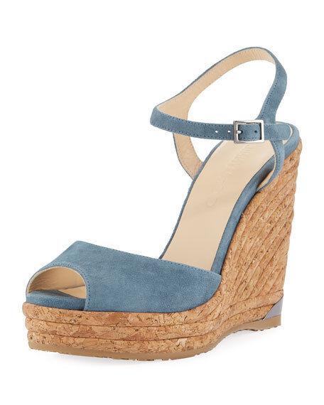 Jimmy Choo Choo Choo Perla Suede Wedge Sandal, Slate Dimensione  6.5B   36.5EU 348087