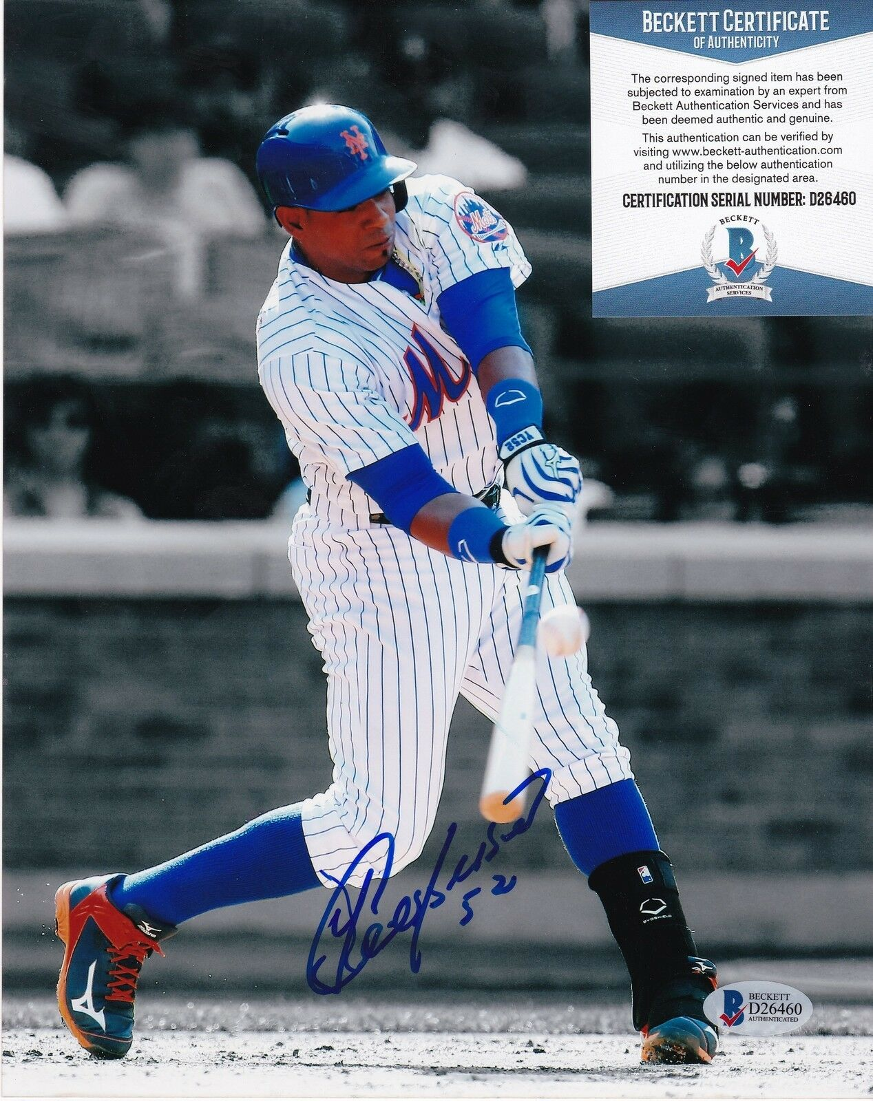 Yoenis Cespedes Nuevo York Mets Beckett Authenticated Acción Firmado 8x10