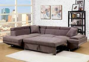 Versatile Sectional Sofa Flannelette Fabric Brown Pull Out Bed Sleeper Lounging