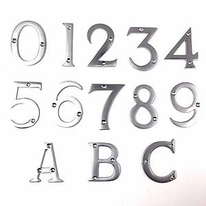 Image is loading Satin-Chrome-House-Door-Numbers-Numerals-76mm-&-  sc 1 st  eBay & Satin Chrome House Door Numbers/Numerals -76mm \u0026 Letters -63mm | eBay