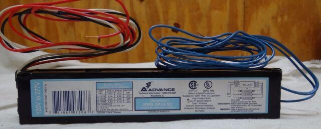 FOR 2 F32T8 LAMPS 10  VEL-2S32-LW-RH-TP ELECTRONIC BALLAST ADVANCE 277V
