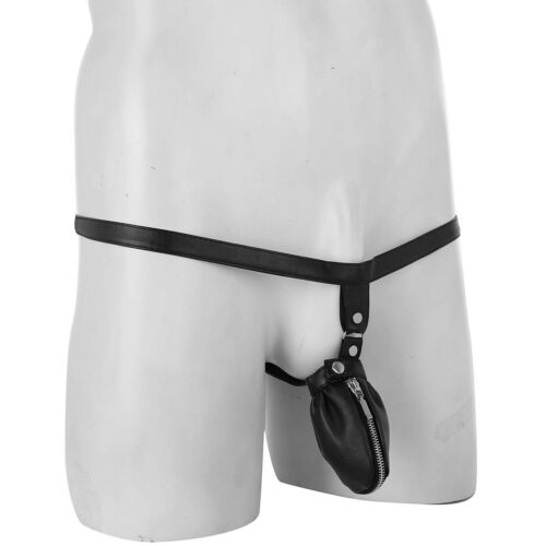 Mens G String Thongs Leather Pouch Panties Micro Bikini T-back Underwear Briefs
