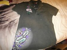 Ed Hardy Christian Audigier Love Kills Slowly Polo Shirt - Skull & Rhinestones M