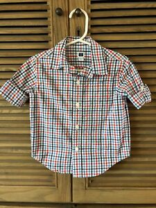 Janie-And-Jack-Checkered-Shirt-Button-Down-12-18-M-Blue-Red-White