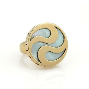 Bulgari Bvlgari Mother Of Pearl Spinning Optical 18k YGold   Steel ... a397a01006b4f