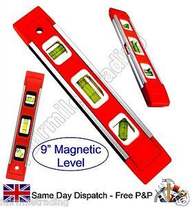 """Qualità 9"""" 23cm Magnetico Livella 3 FIALE Torpediniera PONTEGGIO BUILDER fai da te  </span>"""