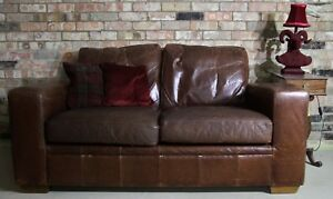 Quality Next Retro Style Antiqued Brown Leather Two Seater Sofa Wood