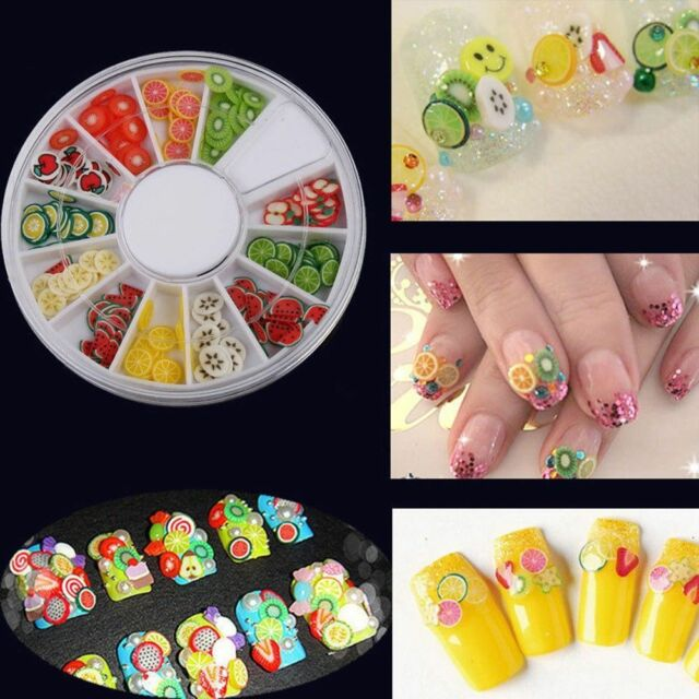 Fimo Clay Cool Acrylic Sticker Fruit Slices 3D Pretty Manicure Wheel Nail Art