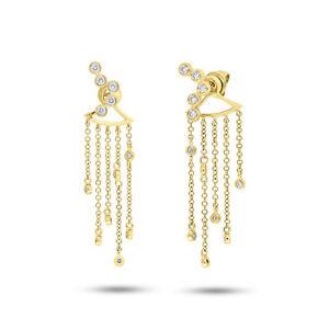 Image Is Loading 14k Yellow Gold Diamond Fringe Ear Jacket Dangle