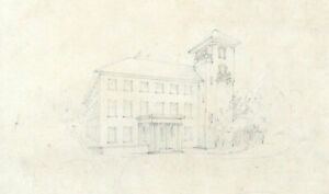 Early 20th Century Graphite Drawing - Building