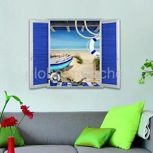 Decor-Maison-Stickers-Muraux-3D-Murale-Paysage-Mer-Autocollant-Adhesif