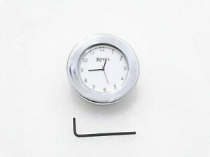 White-Dial-Chrome-Stem-Nut-Clock-Watch-Fit-For-Royal-Enfield-Bullet
