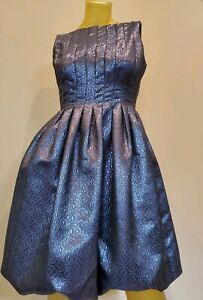 Women-039-s-Maggy-London-Blue-And-Silver-Metallic-Bubble-Hem-Dress-Size-4