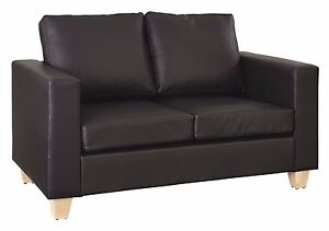 2 Seater Sofa Black Or Brown Faux Leather Modern Design Living Room